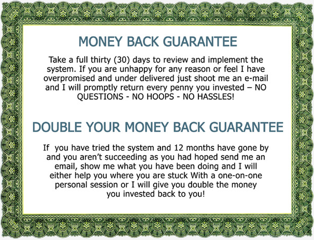 365 Day Double Your Money-Back Guarantee!